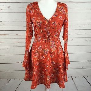 J.O.A. Floral Bell Sleeve Dress M